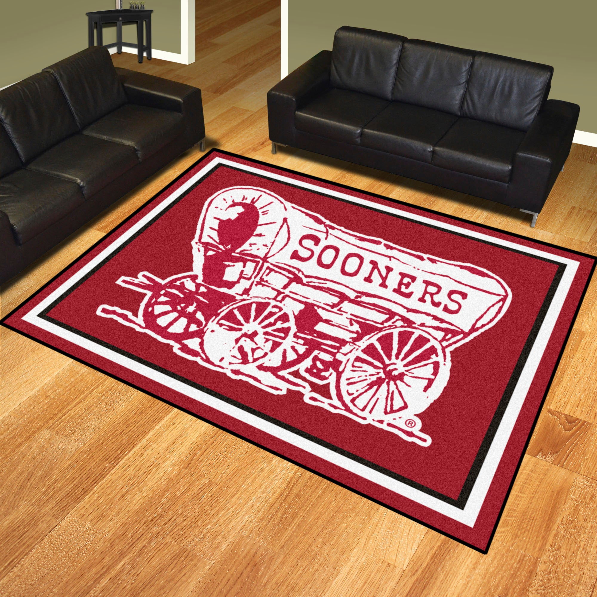University of Oklahoma Sooners Wagon Plush Rug  College Area Rug - Fan Rugs