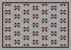 Mississippi State University Repeating Logo Rug  College Area Rug - Fan Rugs