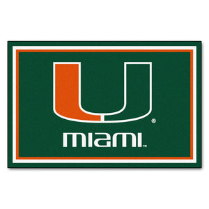 University of Miami Plush Rug  College Area Rug - Fan Rugs