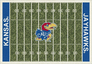 Kansas University Football Field Rug  College Area Rug - Fan Rugs