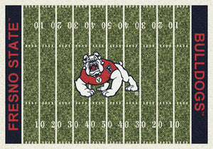 CAL State Fresno University Football Field Rug  College Area Rug - Fan Rugs