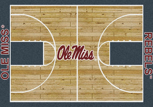 Mississippi University Basketball Court Rug  College Area Rug - Fan Rugs