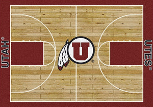 Utah University Basketball Court Rug  College Area Rug - Fan Rugs
