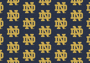Notre Dame University Repeating Logo Rug  College Area Rug - Fan Rugs