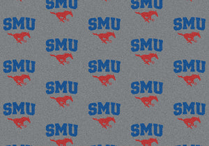 Southern Methodist University Repeating Logo Rug  College Area Rug - Fan Rugs