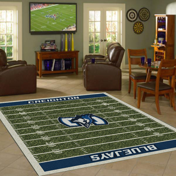 Creighton University Football Field Rug  College Area Rug - Fan Rugs