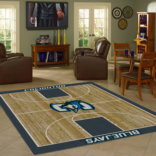 Creighton University Basketball Court Rug  College Area Rug - Fan Rugs