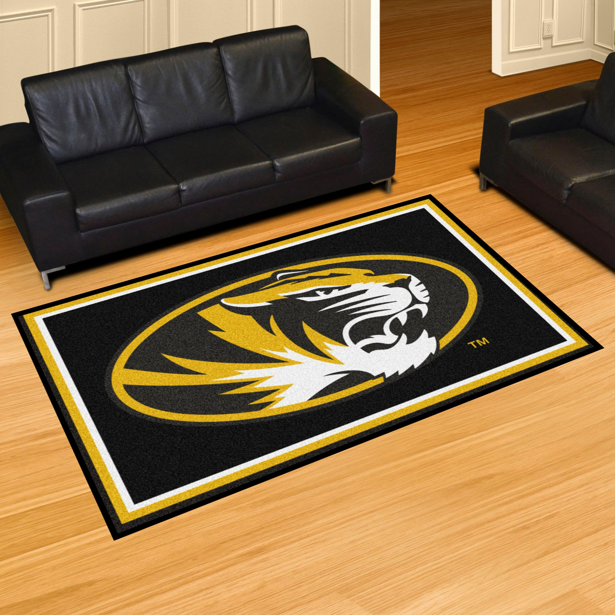 University of Missouri State Plush Rug  College Area Rug - Fan Rugs