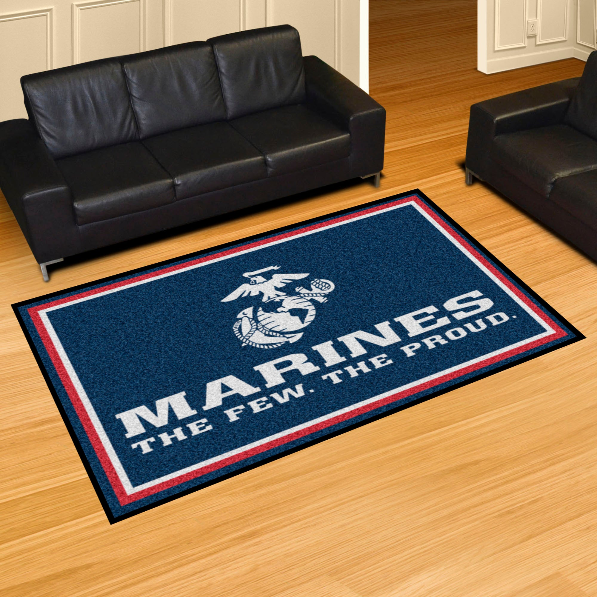 U.S. Marines Blue Logo Ultra Plush Area Rug  NFL Area Rug - Fan Rugs