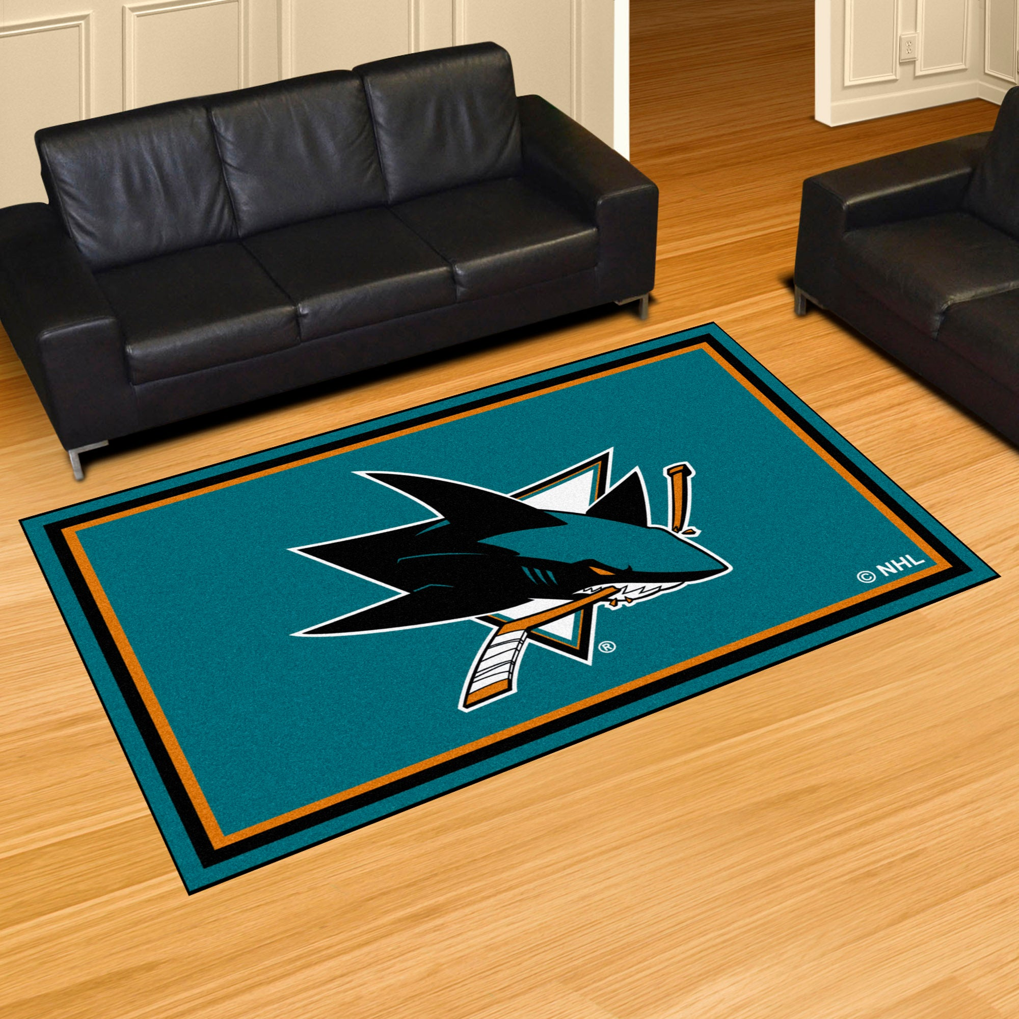 San Jose Sharks Plush Rug  NHL Area Rug - Fan Rugs