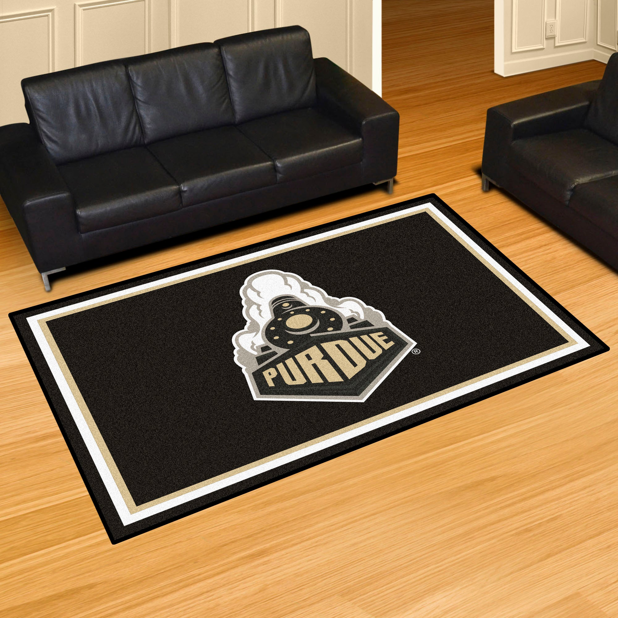 Purdue University Train Logo Plush Rug  College Area Rug - Fan Rugs