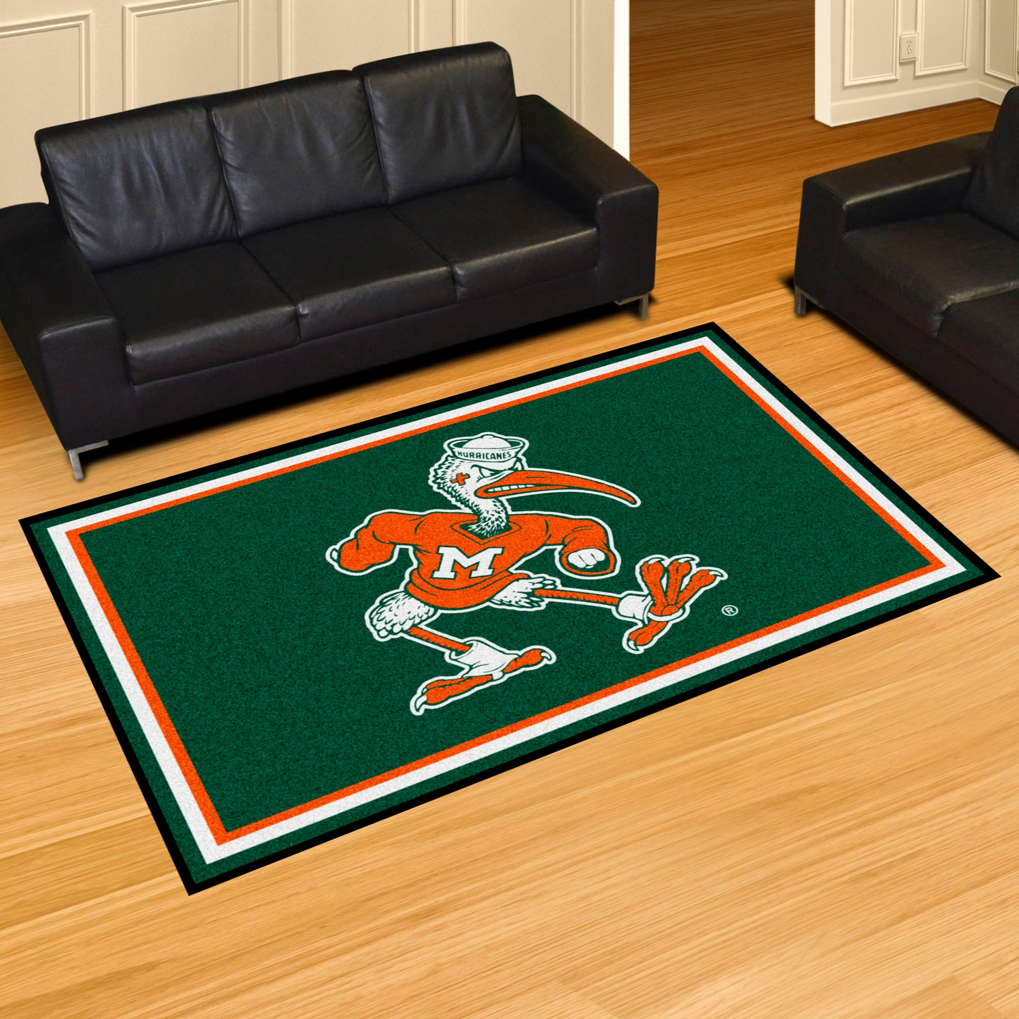 "University of Miami ""Sebastian the Ibis"" Logo Plush Rug  College Area Rug - Fan Rugs"
