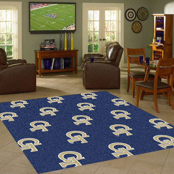 Georgia Tech University Repeating Logo Rug  College Area Rug - Fan Rugs