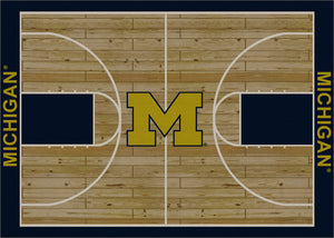 University of Michigan Basketball Court Rug  College Area Rug - Fan Rugs