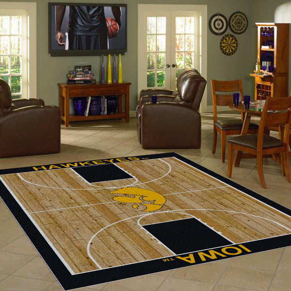 Iowa University Basketball Court Rug  College Area Rug - Fan Rugs