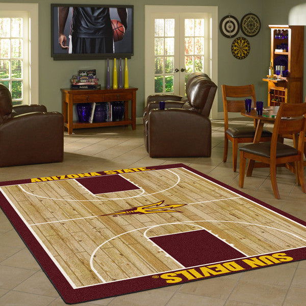 ASU - Arizona State University Basketball Court Rug  College Area Rug - Fan Rugs