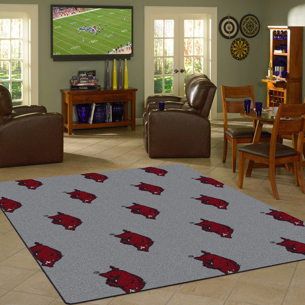 Arkansas University Repeating Logo Rug  College Area Rug - Fan Rugs