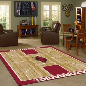 Arkansas University Basketball Court Rug  College Area Rug - Fan Rugs