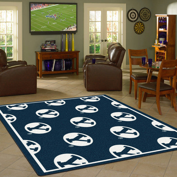 Brigham Young University Repeating Logo Rug  College Area Rug - Fan Rugs