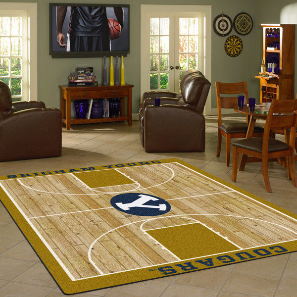 Brigham Young University Basketball Court Rug  College Area Rug - Fan Rugs