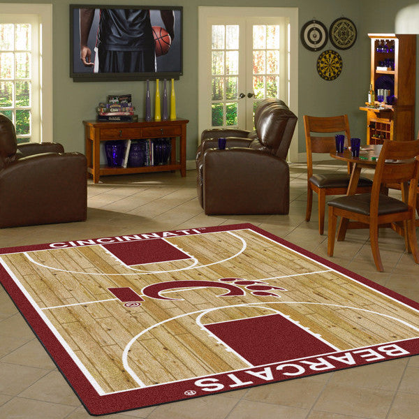 Cincinnati University Basketball Court Rug  College Area Rug - Fan Rugs