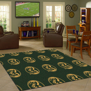Colorado State University Repeating Logo Rug  College Area Rug - Fan Rugs