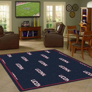 Connecticut University Repeating Logo Rug  College Area Rug - Fan Rugs