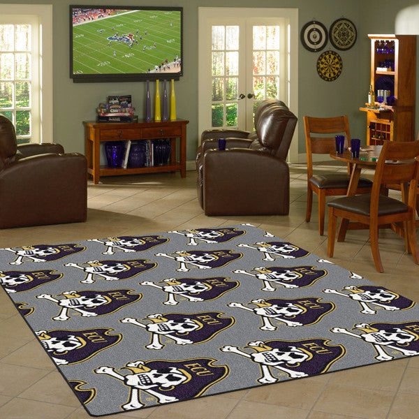 East Carolina University Repeating Logo Rug  College Area Rug - Fan Rugs