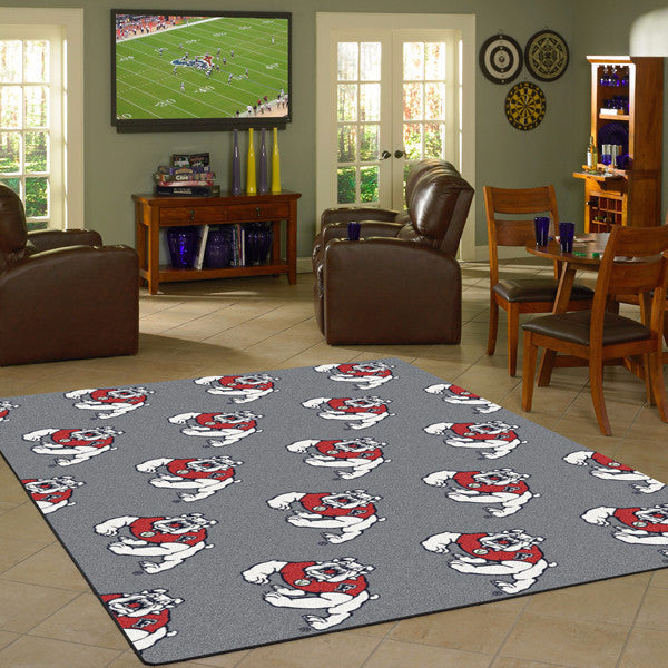 CAL State Fresno University Repeating Logo Rug  College Area Rug - Fan Rugs