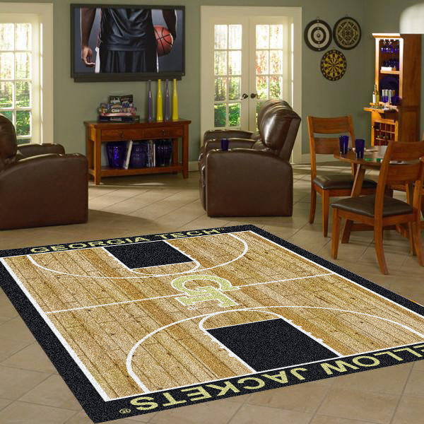 Georgia Tech University Basketball Court Rug  College Area Rug - Fan Rugs