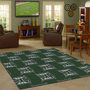 Hawaii University Repeating Logo Rug  College Area Rug - Fan Rugs