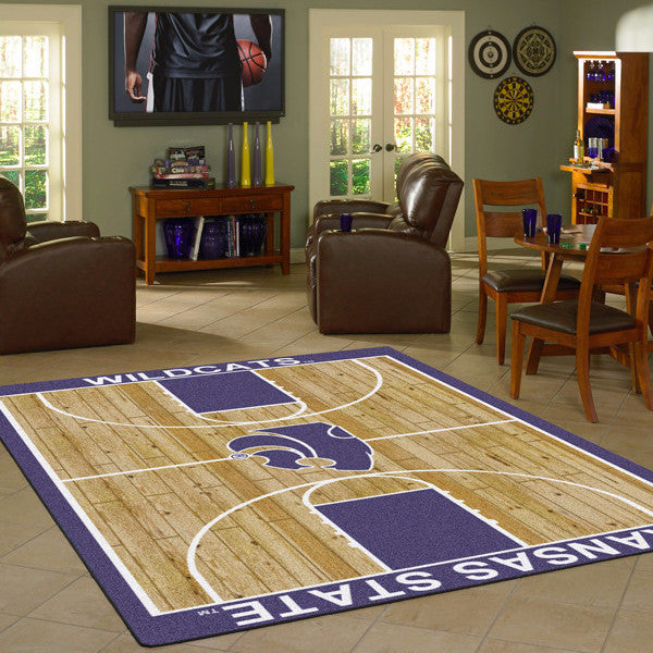 Kansas State University Basketball Court Rug  College Area Rug - Fan Rugs