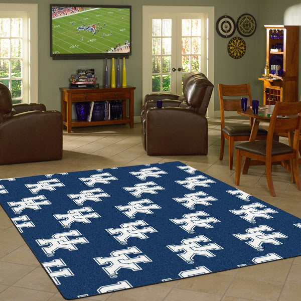 Kentucky University Repeating Logo Rug  College Area Rug - Fan Rugs