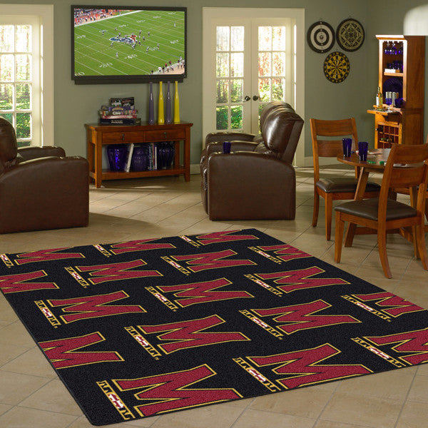 Maryland University Repeating Logo Rug  College Area Rug - Fan Rugs
