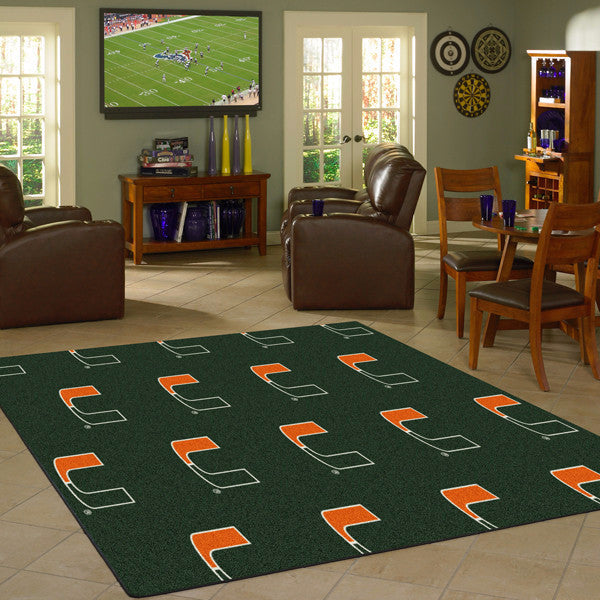 Miami University Repeating Logo Rug  College Area Rug - Fan Rugs