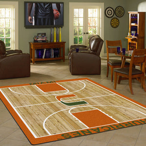 Miami University Basketball Court Rug  College Area Rug - Fan Rugs