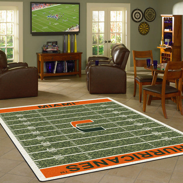 Miami University Football Field Rug  College Area Rug - Fan Rugs