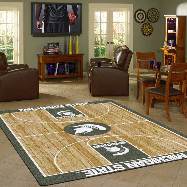 Michigan State University Basketball Court Rug  College Area Rug - Fan Rugs