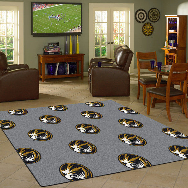 Missouri University Repeating Logo Rug  College Area Rug - Fan Rugs