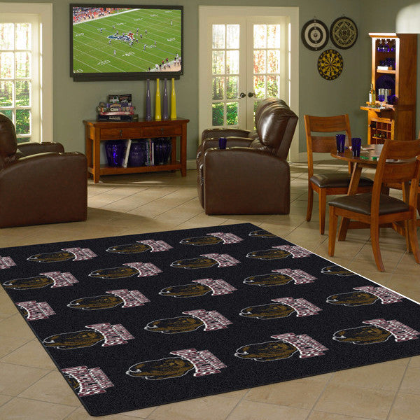 Montana University Repeating Logo Rug  College Area Rug - Fan Rugs