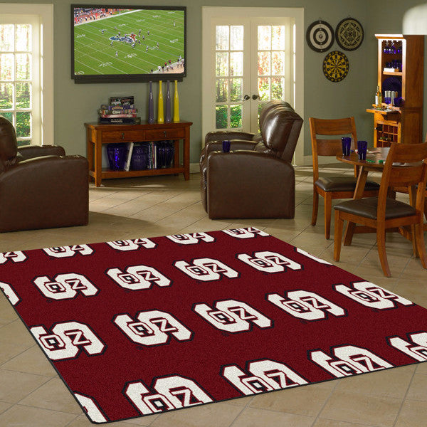North Carolina State University Repeating Logo Rug  College Area Rug - Fan Rugs
