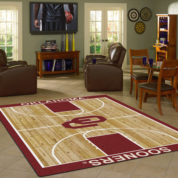 Oklahoma University Basketball Court Rug  College Area Rug - Fan Rugs