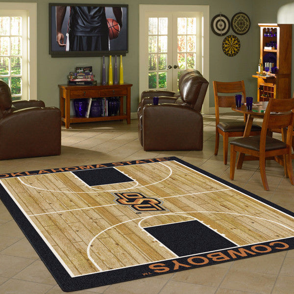 Oklahoma State University Basketball Court Rug  College Area Rug - Fan Rugs