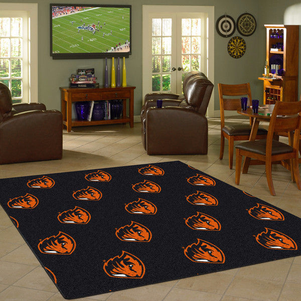 Oregon State Beavers University Repeating Logo Rug  College Area Rug - Fan Rugs