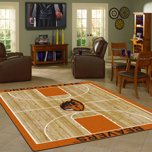 Oregon State Beavers University Basketball Court Rug  College Area Rug - Fan Rugs