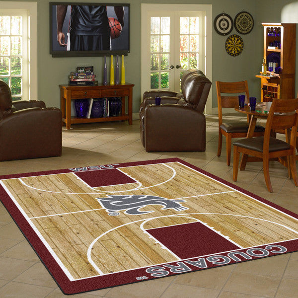 Washington State University Basketball Court Rug  College Area Rug - Fan Rugs