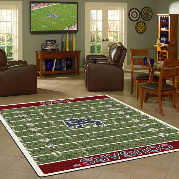 Washington State Cougars Football Field Rug  College Area Rug - Fan Rugs
