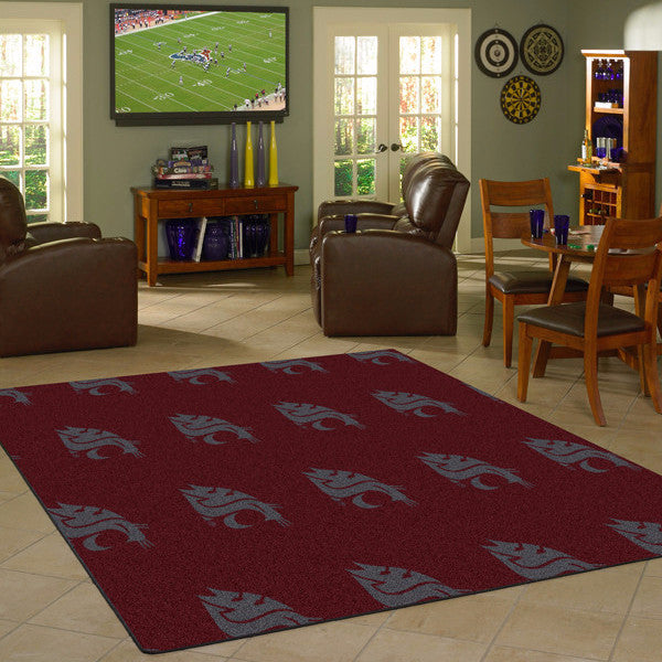 Washington State University Repeating Logo Rug  College Area Rug - Fan Rugs