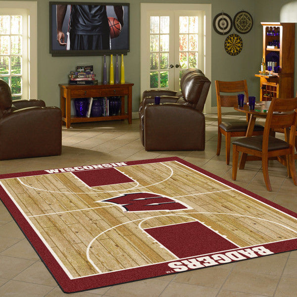 Wisconsin University Basketball Court Rug  College Area Rug - Fan Rugs