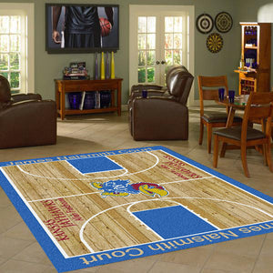 Kansas University Basketball Court Rug  College Area Rug - Fan Rugs
